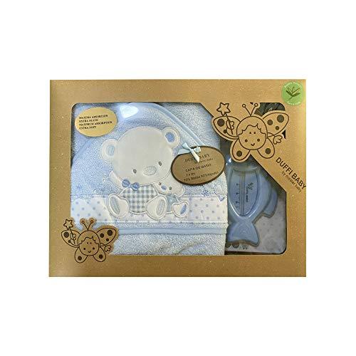 Duffi Baby 0931-12 - Maxicapa de baño bordada 100x100 cm. + termómetro, azul, niños