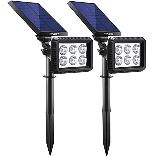 URPOWER Solar Lights Outdoor Upgraded, 2-in-1 Waterproof Solar Lights Solar Landscape Lights Auto On/Off Solar Wall Lights Landscape Lighting Pathway Lights Solar Spotlight for Garden (Cool White)