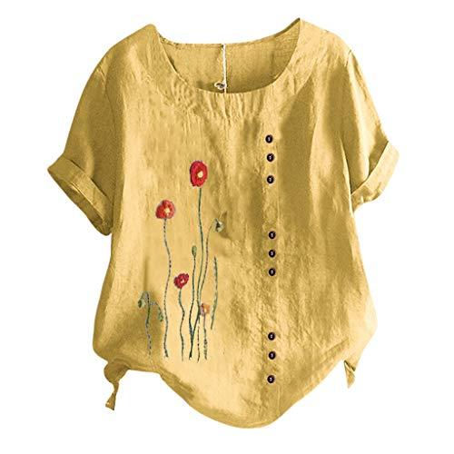 Andouy Damen Freizeitkleidung Fake-Taste Druck Oberteil Lose Kurzarm Shirt Rundhals Tops Blusen(5XL.Gelb)
