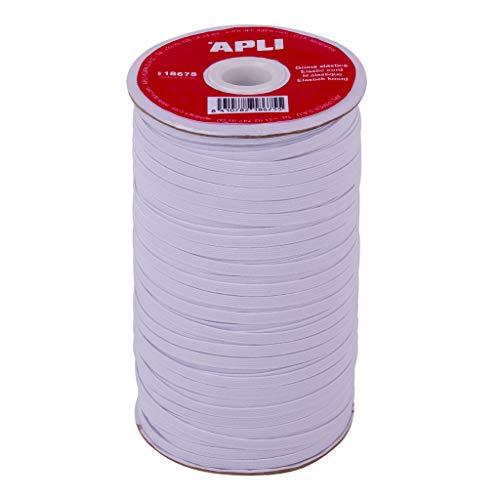 APLI 18675 - Bobina de cuerda elástica plana de 5 mm x 100 m en color blanco multiusos (Ideal para manualidades)