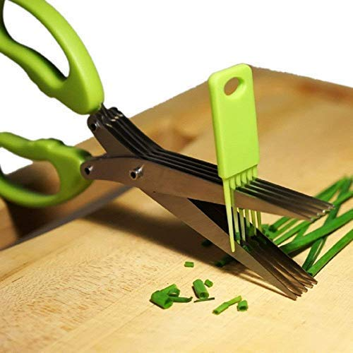 Herb Scissors with 5 Blades - Cool Kitchen Gadgets - Cutter, Chopper and Mincer - Sharp Heavy Duty Shears for Cutting, Shredding and Cooking Fresh Garden Herbs