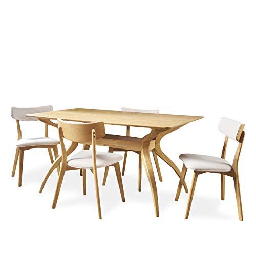 Nerron Mid Century Natural Oak Finished 5 Piece Wood Dining Set