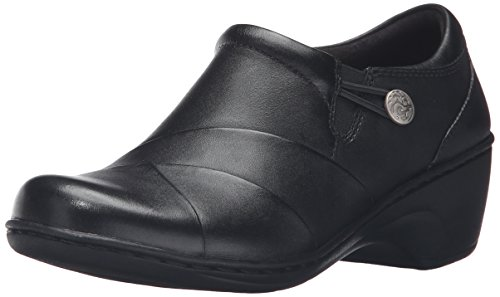 Clarks Women's Channing Ann Slip-On Loafer, Black Leather, 7.5 W US