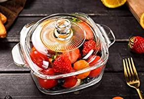 SLOOK Glass Classic Casserole and Serving Bowl with Lid - 2500ml, 1 Pc, Transparent