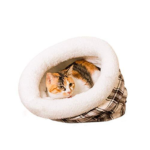 Hongyan Łóżka dla zwierząt zimowe ciepło z papierową beczką dla kota artykuły dla zwierząt domowych A+ (kolor: Beżowy, rozmiar: darmowy kod)