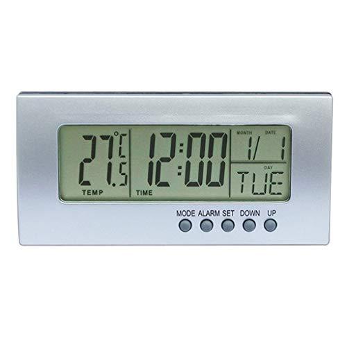 Gazechimp Termómetro Interior del Despertador de La Repetición de Escritorio para La Oficina en Casa 12H / 23H, ° C / ° F