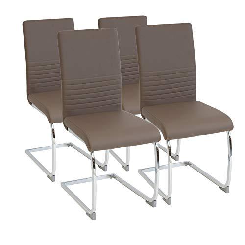 Albatros Silla Cantilever BURANO Set de 4 sillas Marrón, SGS Probado