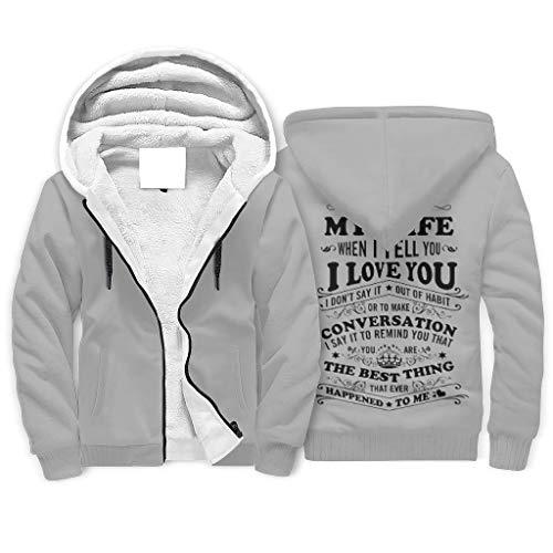 FFanClassic Sudadera de forro polar con capucha para mi esposa amor de los hombres cálido con estilo bolsillos sudadera blanco m
