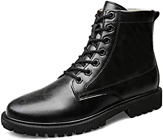GERUIQI For Man High Top Boot Lace Up Style OX Leather Simple Solid Colors Easy Care Breathable Outsole Ankle Boot Comfortable Designed for men (Color : Black, Size : 50 EU)