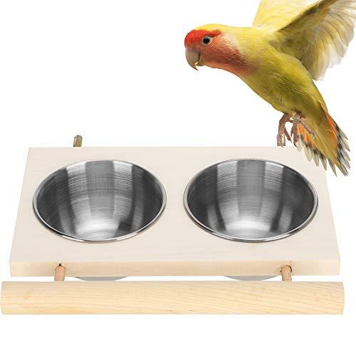 Felenny Papagei Futterschale Edelstahl Futter Wasserzufuhr mit Holzständer Vogelschale Zufuhr Käfig Zubehör für Wellensittiche Sittich Nymphensittiche Kleintierkäfig Schüssel