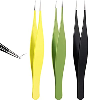 3 Pieces Tweezers for Ingrown Hair Stainless Steel Pointed Blackhead Remover Precision Eyebrow and Splinter Removal Tweezers