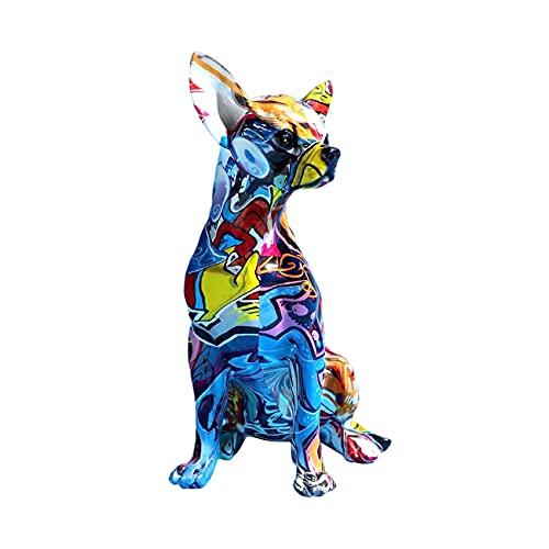 Creative Chihuahua Statue,Indoor Decor Splash Color Chihuahua Multicolor Dog Statue , Home Decor Chihuahua Splatter Colorful Dog Art Figurine-Suitable for Filling The Space and Adding Interior Color