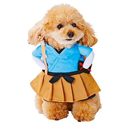 POPETPOP Dog Customes Halloween-Dog Cosplay Costume-Funny Pet Cats Outfit Dog Urashima Taro Standing Clothes for Festival Dress up-Size M