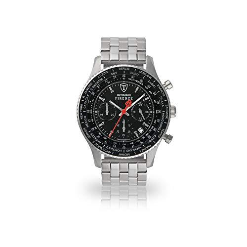 DETOMASO Herren-Armbanduhr Firenze mit silbernem Edelstahl-Gehäuse und schwarzem Zifferblatt. Marken-Herren-Uhr mit einem Durchmesser von 42 mm.