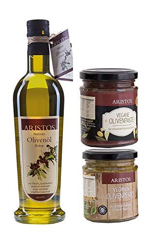 ARISTOS Olivenöl Gourmet Geschenk Set | 500 ml kaltgepresstes extra natives Griechenland + 2x Griechische Tapenade Olivenpaste | 3tlg Geschenk-Set Oster Geschenk