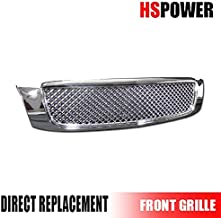 HS Power Chrome Sport Mesh Front Hood Bumper Grill Grille Guard Cover Abs for 2000-2005 Cadillac Deville