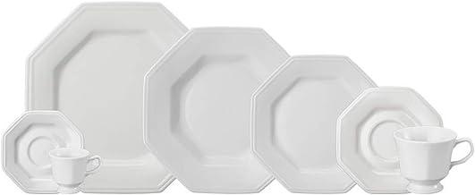 Serviço de Jantar e Chá em Porcelana, 20 Peças, Modelo Octogonal Prisma, Branco, Porcelana Schmidt