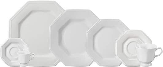 Serviço de Jantar e Chá 20 peças em Porcelana. Modelo Octogonal Prisma. Branca. Fabricado pela fabricado pela Schmidt.