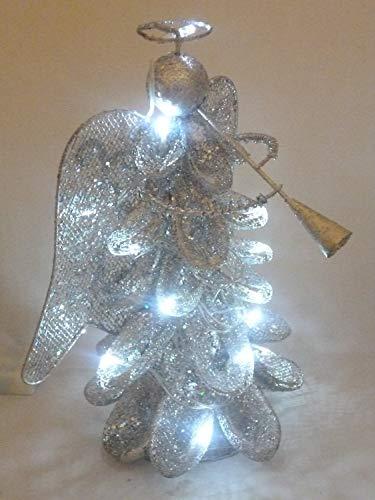 CHRISTMAS CONCEPTS Impresionante ángel de Navidad de Malla metálica con Blanco de 12 Pulgadas LED Luces