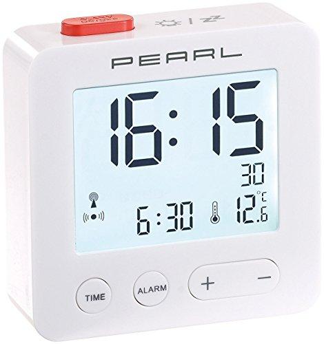 PEARL Reise Funkwecker: Digitaler Reise-Funk-Wecker mit Thermometer und beleuchtetem Display (Funkwecker Digital)