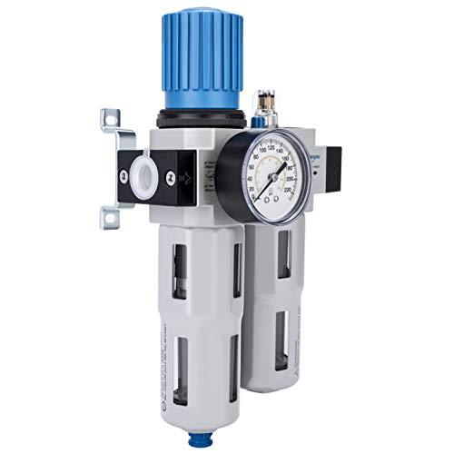 NANPU 1/2' NPT High Pressure Compressed Air Filter Regulator Lubricator Combo 1/2' NPT Water/Oil Trap Separator - Gauge(0-230 psi), Poly Bowl,Semi-Auto Drain, Bracket - 3 in 1 Two Unit