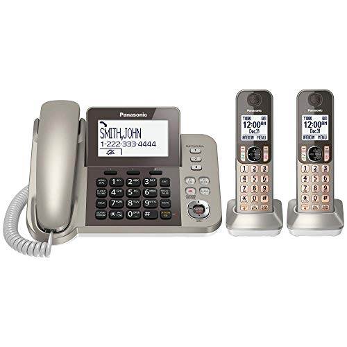 PANASONIC Corded / Cordless Phone System with Answering Machine and One Touch Call Blocking – 2...