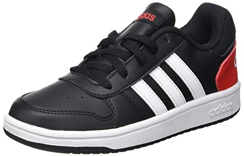 adidas Hoops 2.0 Sneaker, Core Black/Cloud White/Vivid Red, 39 1/3 EU