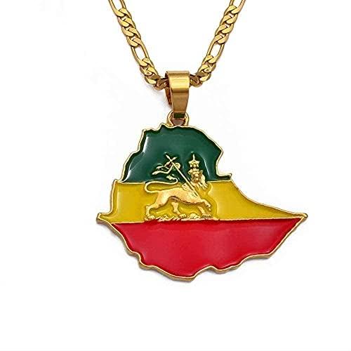 Collana Collare Mappa Etiopia Catena Collane Ciondolo per Donna Uomo Colore Bandiera Etiopia Mappe Gioielli Accessori Regali
