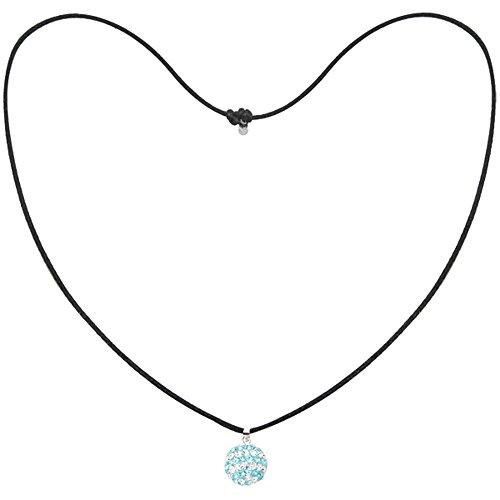 Tresor Paris Light Blue & White Spiral 14mm Crystal Pendant, Black Cord Necklace 019154