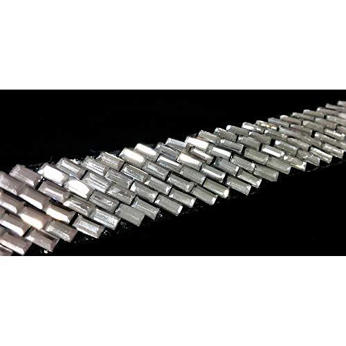 50 cm de cuero ADORNOS termo-adhesivo de PIEDRAS Rectangulares alta15 mm - Argento