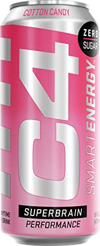 C4 Smart Energy Sugar Free Energy Drink 16oz (Pack of 12)   Cotton Candy   Performance Fuel & Nootropic Brain Booster with No Artificial Colors or Dyes