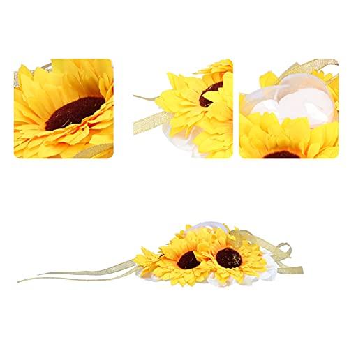 01 Almohada, Flor de Ceremonia Girasol con Funda en Forma de corazón para Intercambio