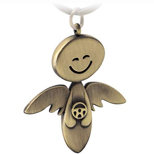FABACH Schutzengel Schlüsselanhänger Smile mit Lenkrad - Edler Engel Anhänger aus Metall in mattem Bronze - Geschenk Glücksbringer Auto Führerschein - Fahr vorsichtig
