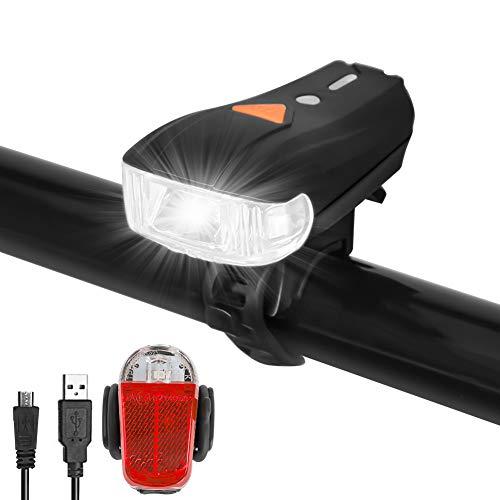 Sanfant Fahrradlicht Set, Fahrradlicht StVZO Zugelassen, Fahrradlicht USB Aufladbar, Fahrradbeleuchtung, Fahrradlampe Set 5 Licht-Modi