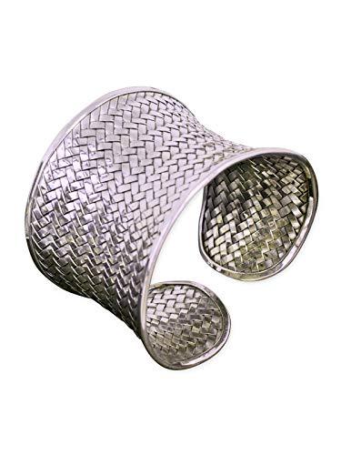 Fly Style Damen-Armreif - breite Armspange aus 925 Silber - Antiker Look - offen und verstellbar