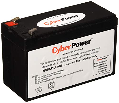 CyberPower RB1270B Replacement Battery Cartridge, Maintenance-Free, User Installable