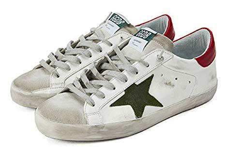 VCEGGDB Zapatillas de deporte de moda para hombre con cordones para arriba bajo punta redonda estrella casual caminar zapatos planos