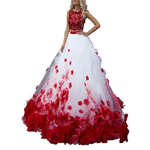ZCRFYY Ballkleid Brautkleider Jewel Ausschnitt Sweep/Pinsel Zug Polyester Ärmel Country Plus Size Red mit Spitzeneinsatz Applikationen,Weiß,16
