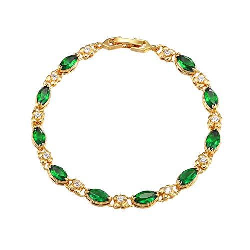 STKJ Pulsera para Mujer, Ruby Fashion Chapado En Oro De 24 K Joyas para Mujer Regalos Piedras Preciosas Pulseras De Eslabones De Varias Piedras,Verde