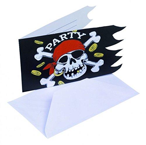 amscan - 551943-6 Cartes d'Invitation et Enveloppes Pirate - Rouge/Noir