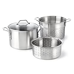 powerful 8 liter pot with Calphalon Classic stainless steel, steamer and pasta