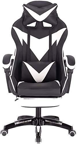Silla de cuero de la computadora de escritorio del juego Silla con reposapiés ergonómico respaldo alto silla de la computadora de oficina con altura ajustable masaje equipo silla for juegos (color: Ne