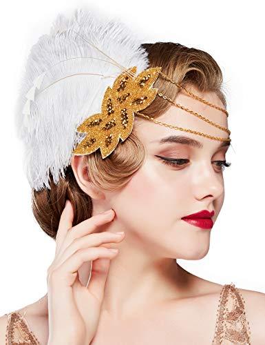 Coucoland 1920s Haarclips, pauw veer, hoofdband voor dames, jaren 20 stijl, elegante haarspeld gatsby kostuum flapper charleston haaraccessoires