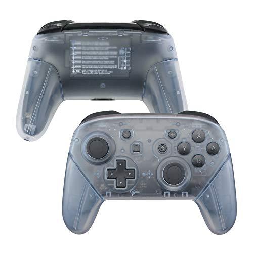 eXtremeRate Nintendo Switch Proコントローラーに対応用フェースプレートバックプレートハンドル、Nintendo Switch Proに対応用グロッシーのあるDIY交換用グリップハウジングケースカバー(コントローラーは含まれていません)‐【グレイシャーブルー】