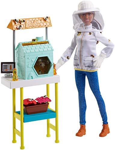 Barbie FRX32 - Imkerin Puppe mit braunen Haaren und Spielset, Puppen und Puppenzubehör ab 3 Jahren
