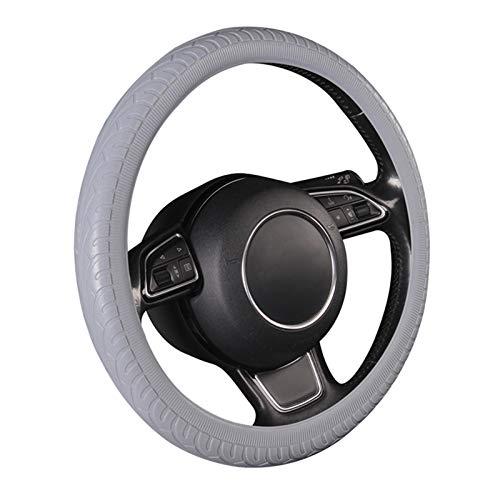 Autopartes Cubierta del volante del automóvil, patrón de neumáticos, estilo de moda, adecuado para ruedas de dirección de tamaño estándar con un diámetro exterior de 14 1/2 a 15 1/4 pulgadas (37-39 cm