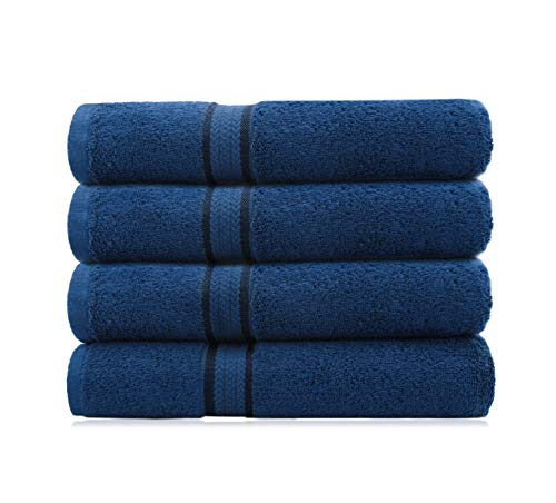 COTTON CRAFT Ultra Soft Luxury Set of 4 Ringspun Cotton Bath Towels, 580GSM, Heavyweight, 30 inch x 54 inch, Night Sky