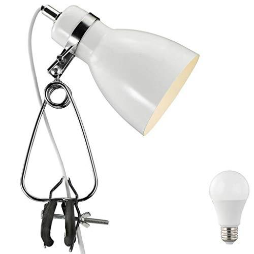 Nordlux Lámpara con pinza, estilo retro, color blanco y negro, incluye foco LED de 4 W, estilo vintage, retro, industrial, metal (blanco)