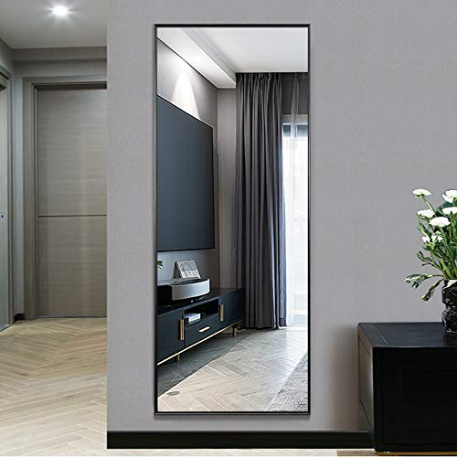 NeuType Full Length Mirror Standing Hanging or Leaning Against Wall, Large Rectangle Bedroom Mirror Floor Mirror Dressing Mirror Wall-Mounted Mirror, Aluminum Alloy Thin Frame, Black, 65'x22'