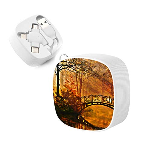 Phone Multi Charging Cable Autumn Old Bridge Autumn Misty Park Multi 3 in 1 Retractable Multi Phone Charger Cable Fast Charge with Micro USB/Type C Compatible with Cell Phones Tablets and More